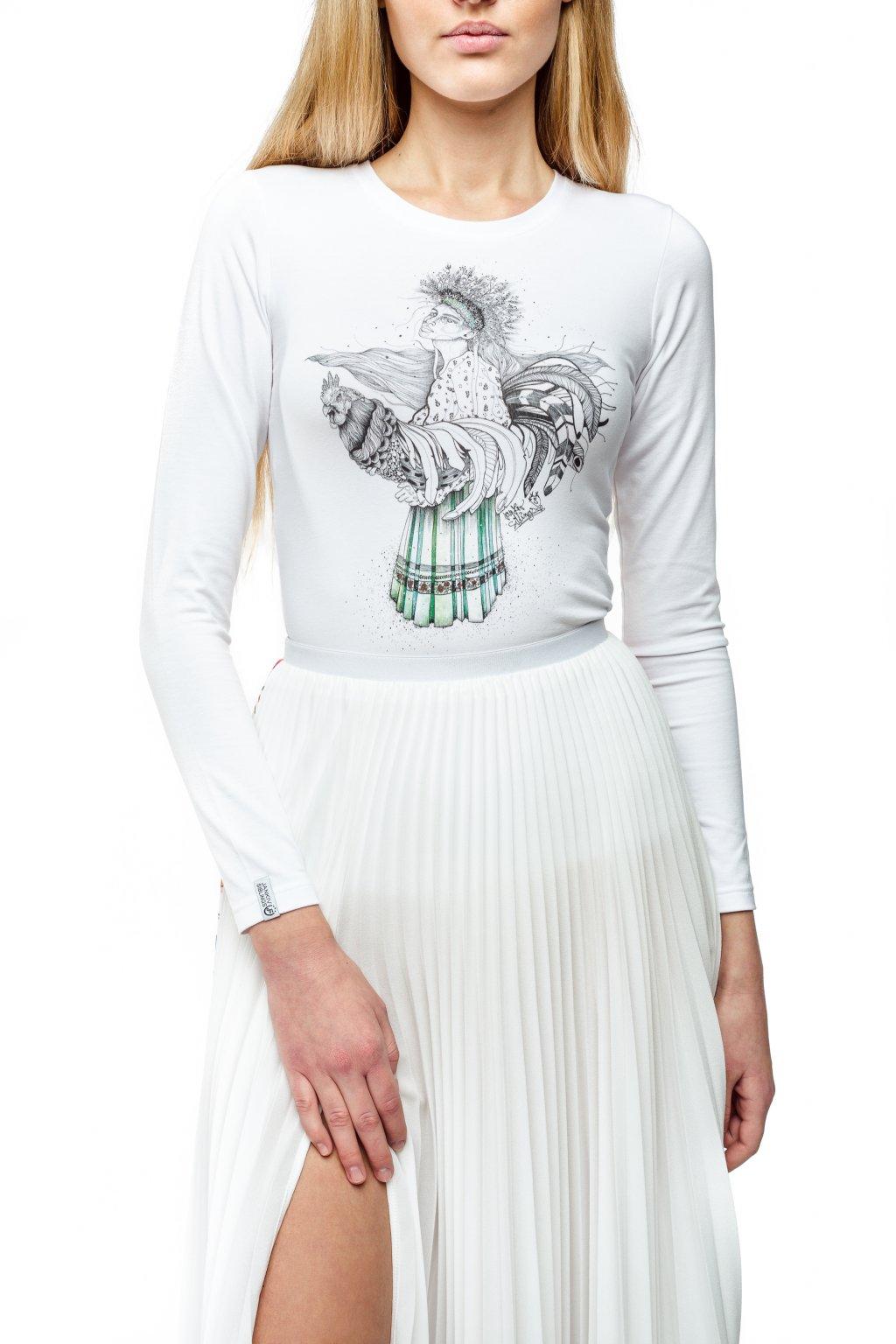 Dámske tričko biele s autorskou potlačou 1 žena