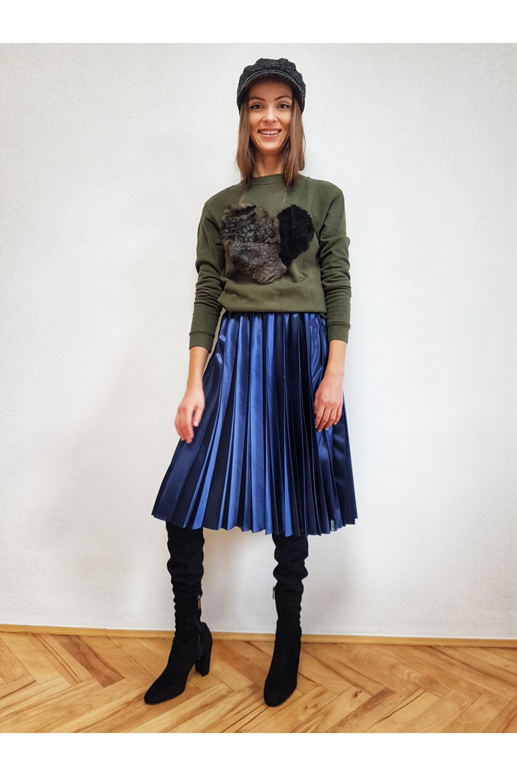 Plisovaná sukňa MIDI tmavomodrá