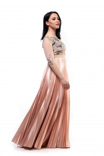 MAXI plisovaná sukňa lososovo ružová
