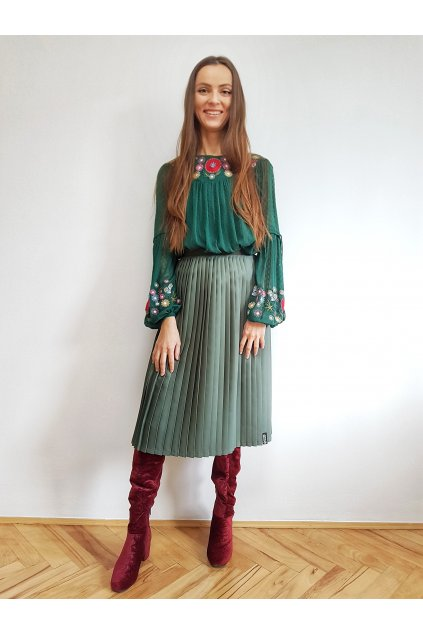 Plisovaná sukňa MIDI FLAT casual