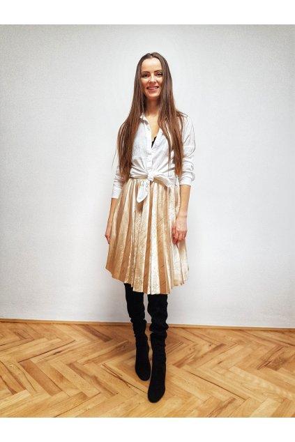 Plisovaná sukňa biela kombinovaná