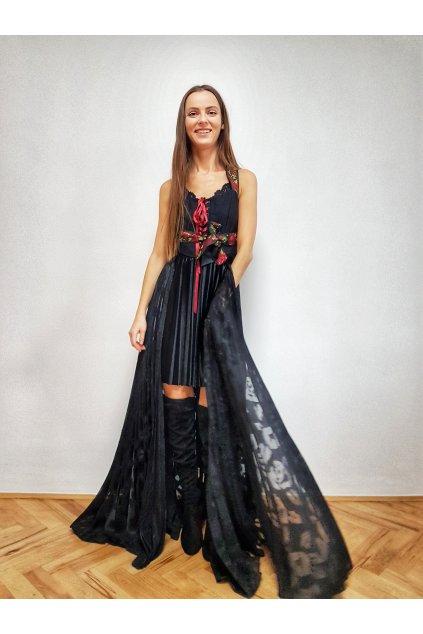 Plisovaná sukňa MAXI čierna vlečka