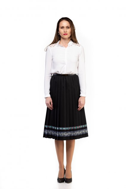 BUSINESS, BUSINES, BASIC, CASUAL, BIZNIS PLISOVANÁ SUKŇA, PLEATING SKIRT, PLISSÉ, PLEATED SKIRT, ČIERNA, BLACK, MIDI, SLOVAKIA