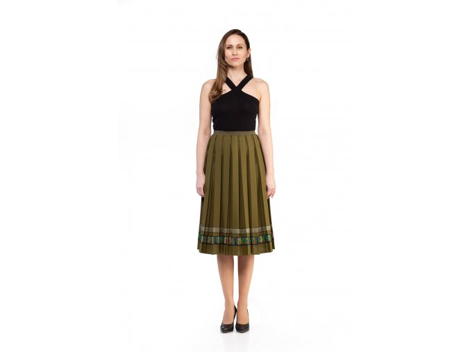 BUSINESS SUKŇA, BUSINESS SKIRT, BUSINES, BASIC, CASUAL, BIZNIS PLISOVANÁ SUKŇA, PLEATING SKIRT, PLEATED SKIRT, PLISSÉ, ZELENÁ, GREEN, OLIVOVÁ, HNEDÁ, BROWN, MIDI, SLOVAKIA