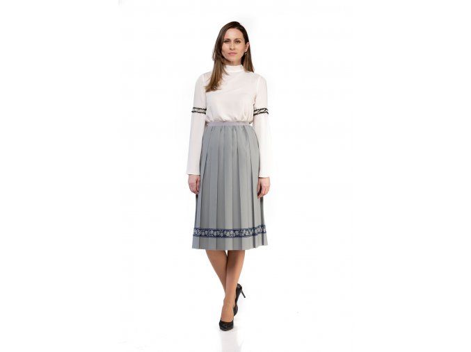 BUSINESS, BUSINES, BASIC, CASUAL,BIZNIS PLISOVANÁ SUKŇA, PLEATING SKIRT, PLISSÉ, PLEATED SKIRT, SIVÁ, GREY, MIDI, SLOVAKIA