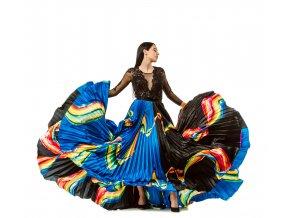 Plisovaná sukňa MAXI saténová dúhová a body/top